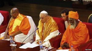 Pope Francis met leaders from many religious groups in Sri Lanka