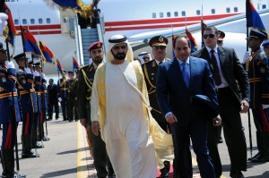 Egyptian President Abdel Fattah al-Sisi, right, receiving United Arab Emirates Prime Minister and Dubai ruler Sheikh Mohammed bin Rashid Al Maktoum in Sharm El-Sheikh on Friday.