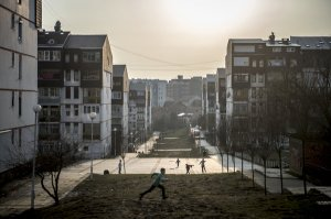 Children playing in a housing estate in Pristina, Capital of Kosovo
