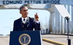 President Barack Obama delivers his speech at Selma Anniversary