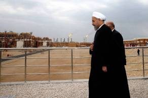 Iranian President Hasan Rouhani inspecting port facilities of the South Pars Gas field