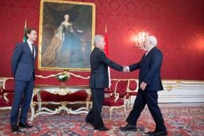 Austrian President Heinz Fischer and Austrian Foreign Minister Sebastian Kurz welcome Iranian Foreign Minister Javad Zarif in Vienna, Austria