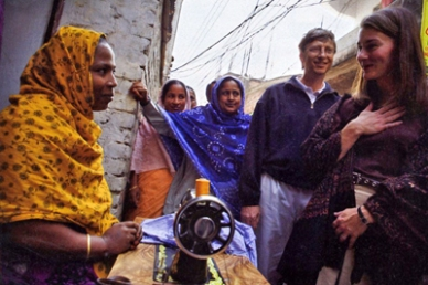 Bill and Melinda Gates meet with recipients of Gates Foundation grants in Dhaka, Bangladesh.